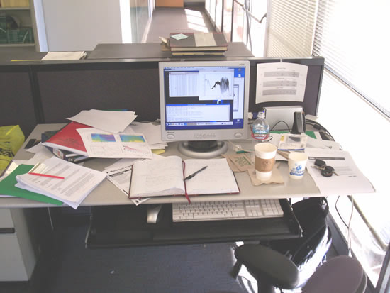 typical desk of graduate student
